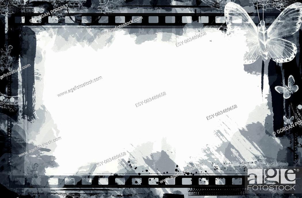 Stock Photo: Grunge floral frame.