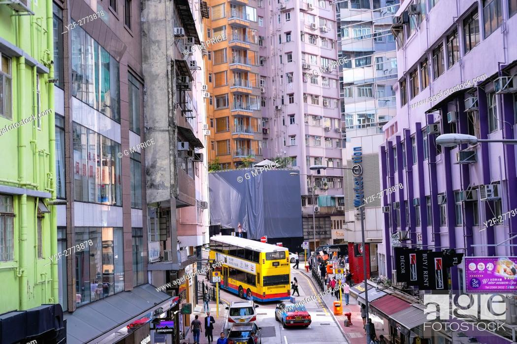 Stock Photo: elevated view of Lyndhurst Terrace and intersection with Hollywood Road, Hong Kong.