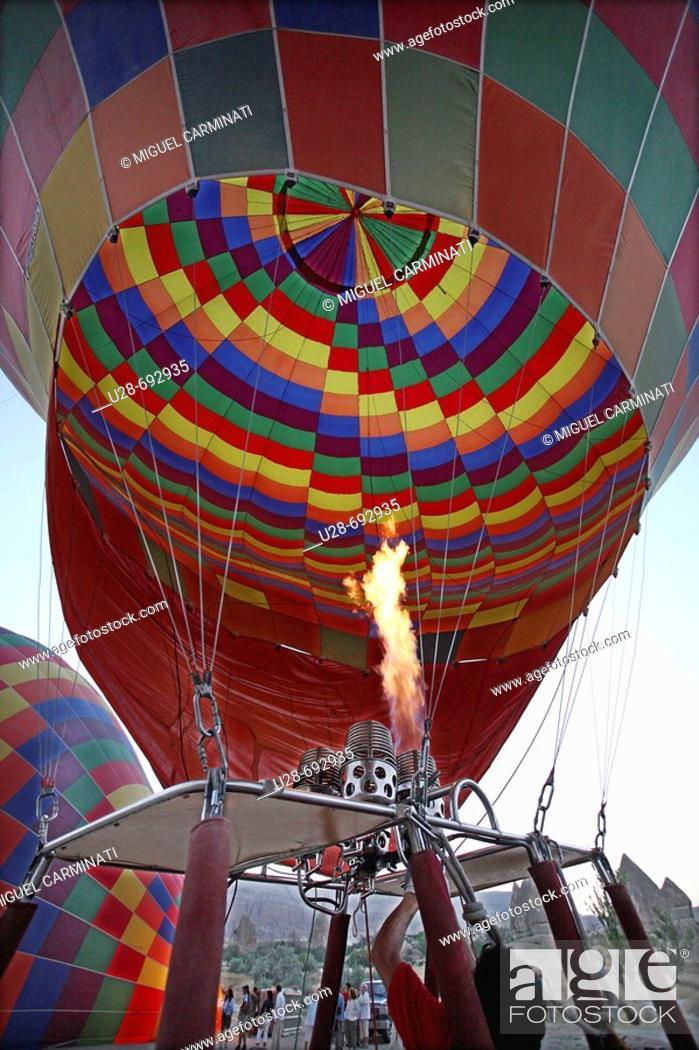 Stock Photo: Hot-air balloon at Göreme valley. Cappadocia, Turkey.