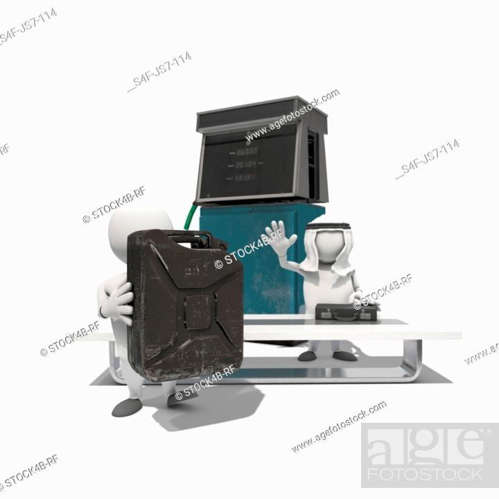 Stock Photo: Two anthropomorphic figures exchanging briefcase and fuel can in front of fuel pump, CGI.