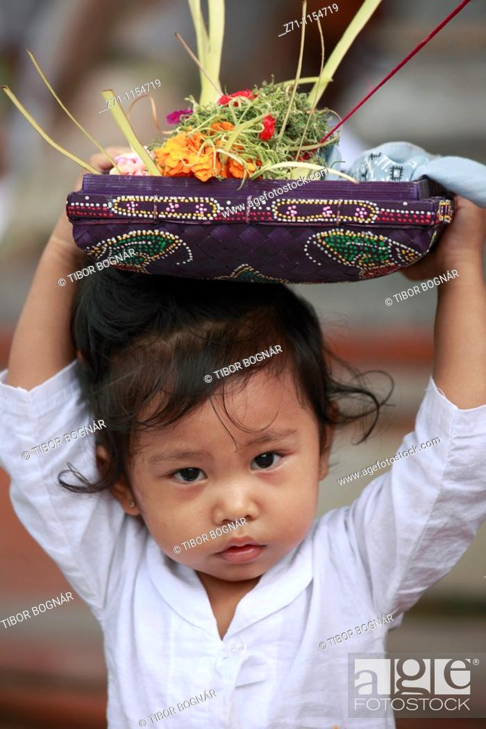 Indonesia Bali Galungan Festival Religious Ceremony Child