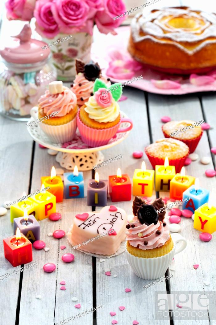 Muffins Birthday Cake Cup Cakes Roses Lighted Candles