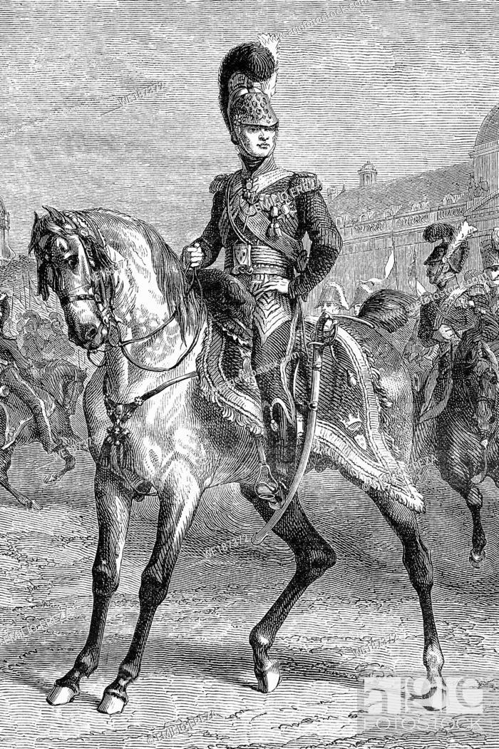 Stock Photo: Charles Ferdinand, duke of Berry. 1778-1820. Napoleonic wars. Antique illustration. 1890.