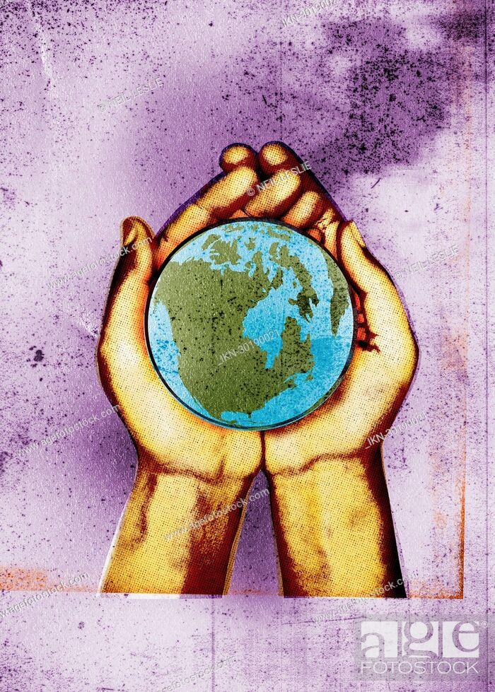 Imagen: Hands holding globe.