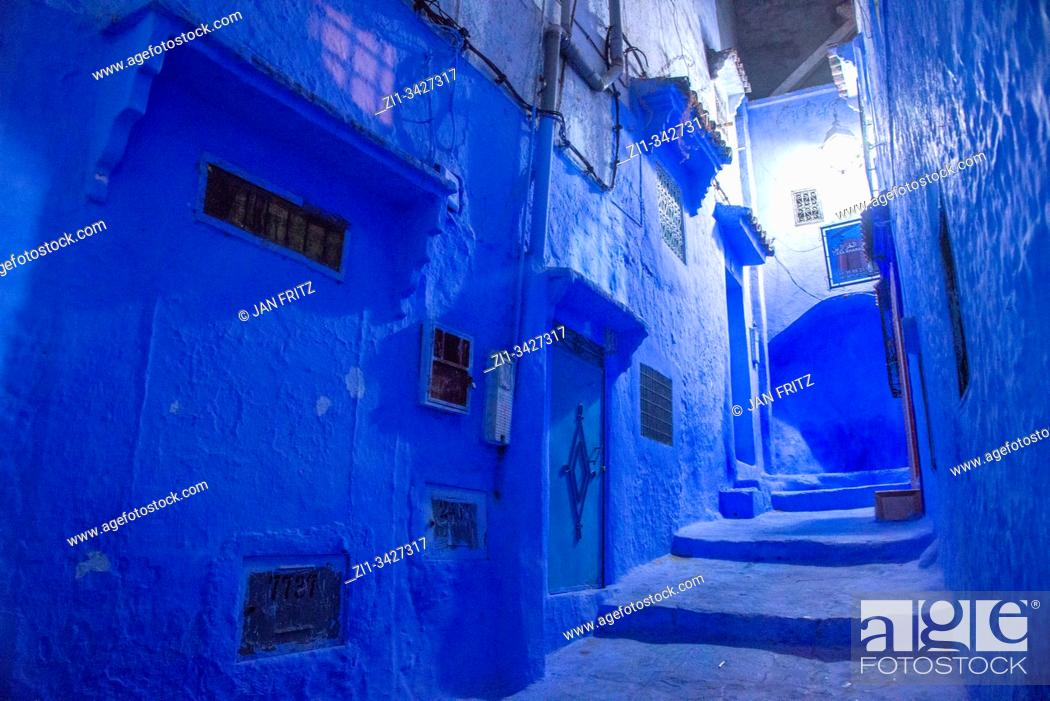 Stock Photo: Chefchaouen in the evening in Maroc.
