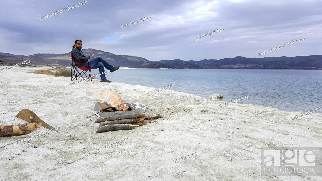 Stock Photo: Blue lake and blue sky Salda Lake Antalya Turkey.
