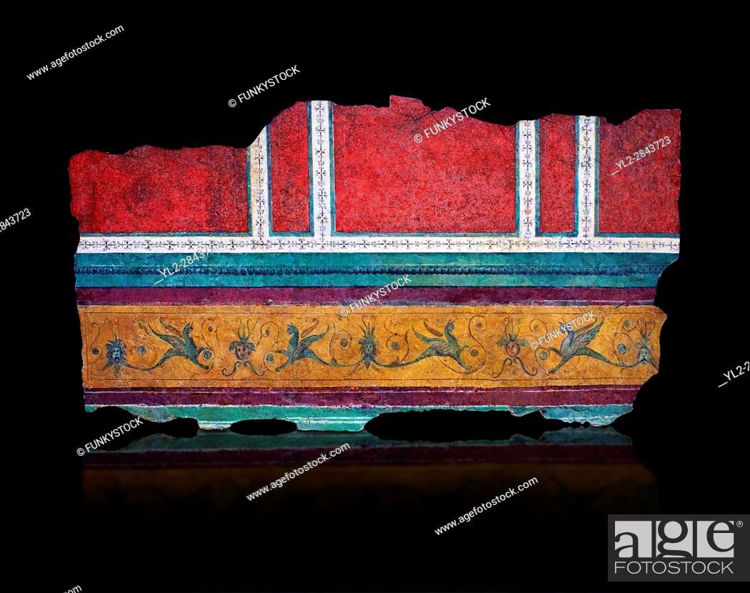 Stock Photo: Roman fresco wall decorations of Corridor F-G of the Villa Farnesia, Rome. Museo Nazionale Romano ( National Roman Museum), Rome, Italy.