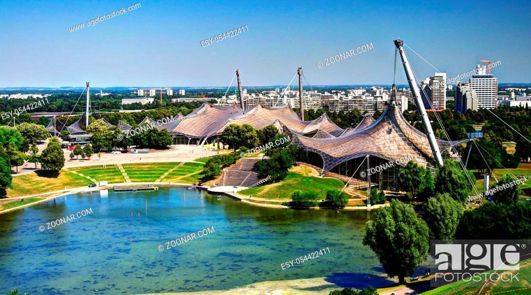 Stock Photo: Panorama of the stadium in Olympic park, Munich.