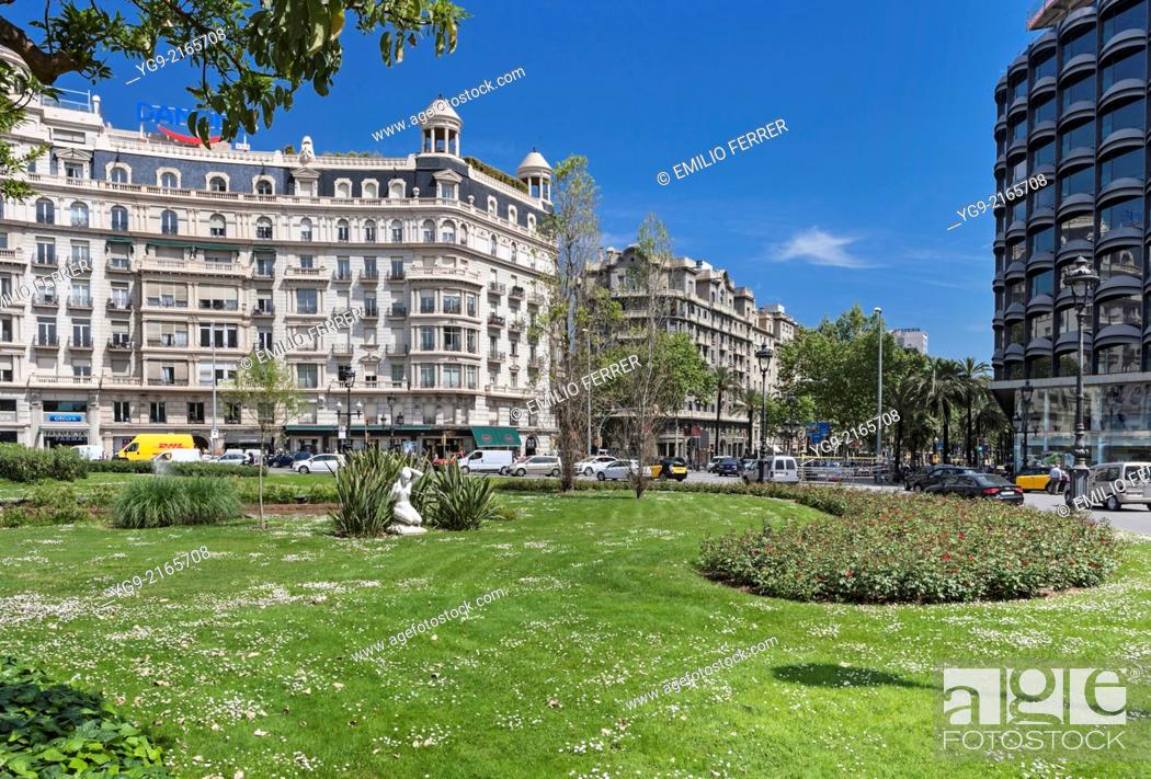 Stock Photo: Plaça Francesc Macia square in Barcelona. Spain.