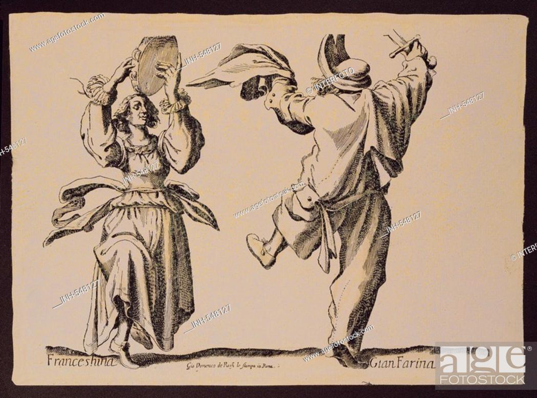 Stock Photo: theatre, Commedia dell`Arte, graphic, Franceshina and Gian Farina, von Giovanni Domenico de Rossi le Stampa, Rome, Italy, first half of the 17th century.