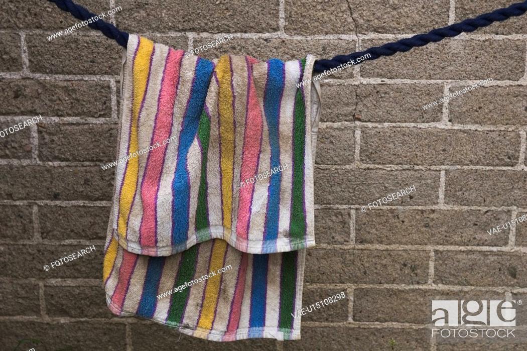 Stock Photo: Bath Towel, Clothing, Fabric, Hanging.