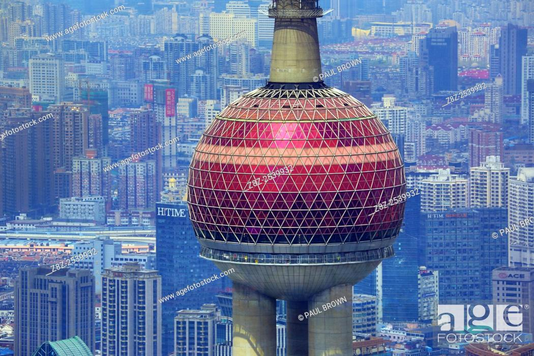Stock Photo: The Oriental Pearl TV Tower in Pudong, Shanghai, China.