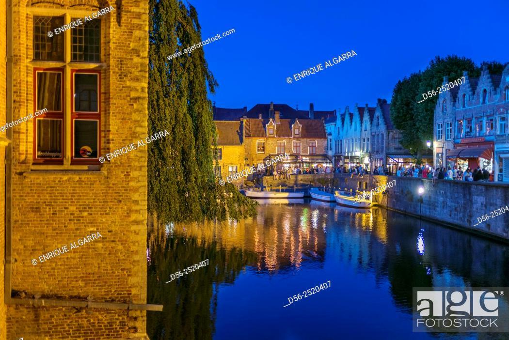 Stock Photo: Bruges at night, West Flanders, Belgium.