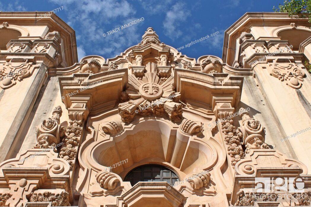 Stock Photo: Close up of sculptures above the entrance to the Casa del Prado in Balboa Park, San Diego, California, USA.
