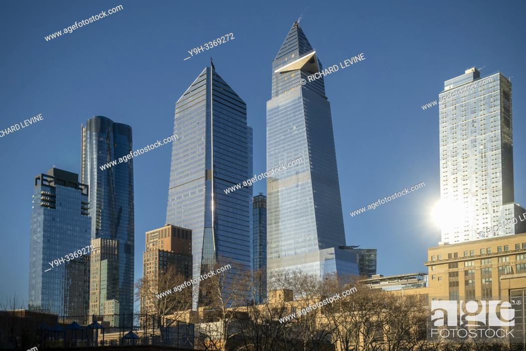 Stock Photo: 10 Hudson Yards, center left, 30 Hudson Yards, center right, and other development around Hudson Yards in New York on Saturday, February 9, 2019.