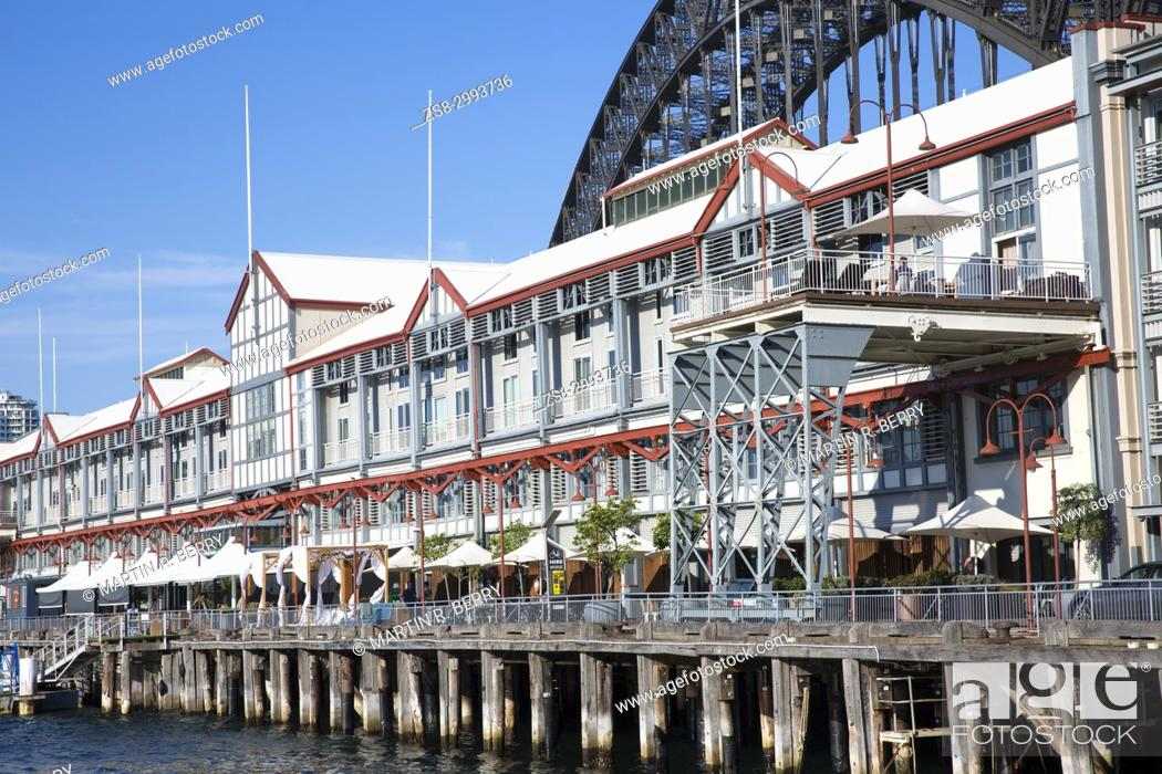 Stock Photo Walsh Bay In Sydney City Centre By The Harbour Modern Apartments Bars And Cafes Australia