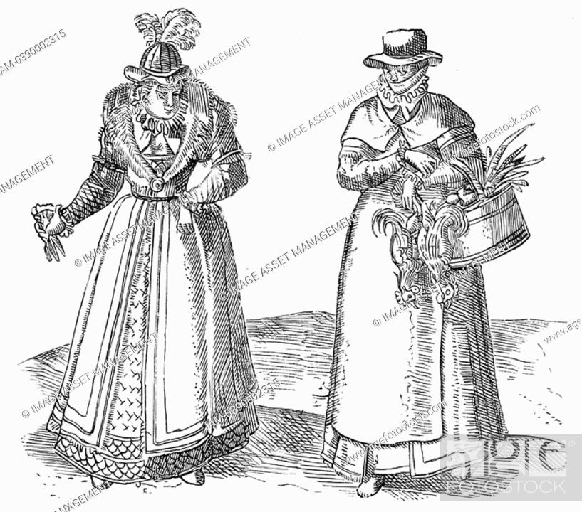 Stock Photo: English countrywoman carrying basket of chickens and wearing apron over plain clothes right  On left is a lady of the Court with fur-trimmed coat over.