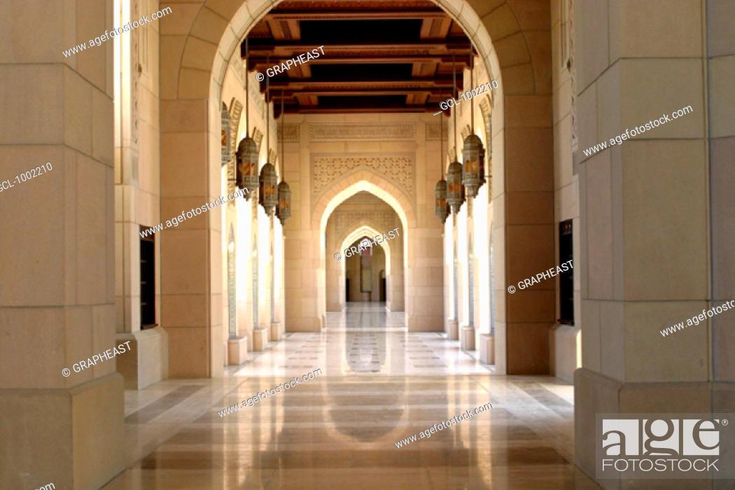 Stock Photo: Interior of the Sultan Qaboos Mosque, Oman.