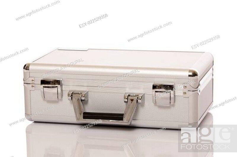 Stock Photo: Metallic suitcase.