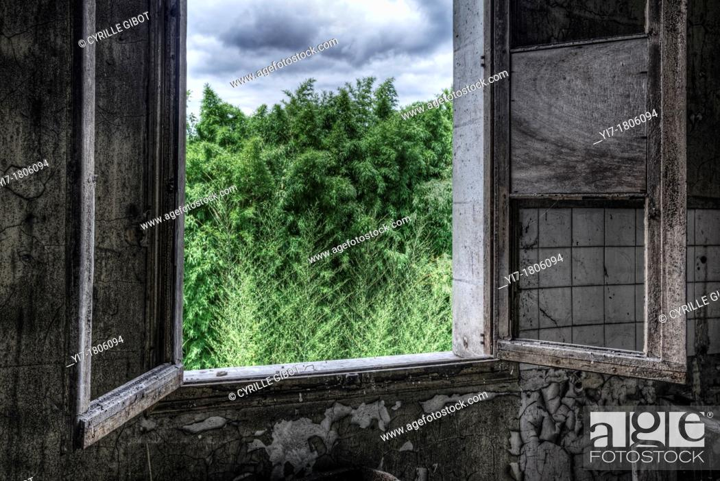 Stock Photo: Open window in abandoned house.