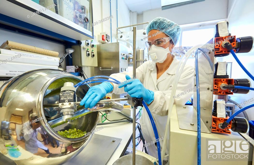 Stock Photo: Fluid Bed. Pharmaceutical Development Laboratory. Pre-formulation, design and development of drugs and new pharmaceuticals.