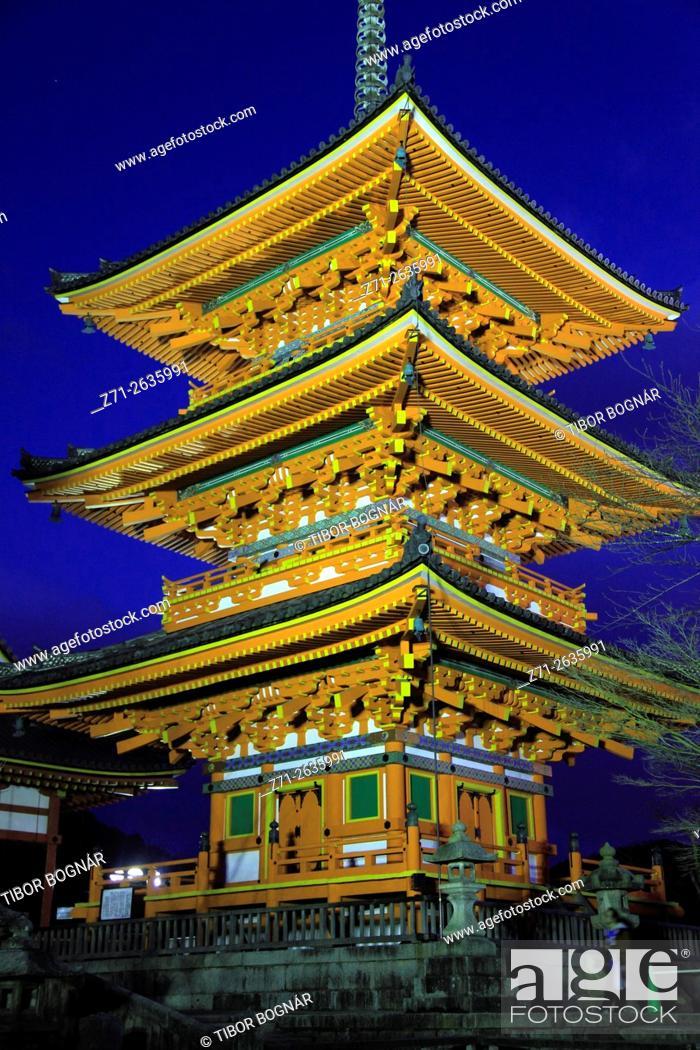 Stock Photo: Japan; Kyoto, Kiyomizu Temple, pagoda, .