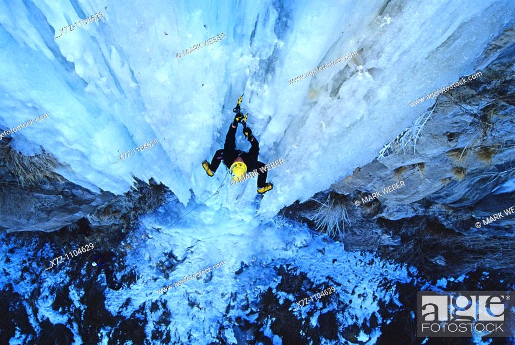 Stock Photo: Man, ice climbing a route called Neutron at the Mother Lode Area in the Snake River Canyon near the city of Twin Falls, Idaho.