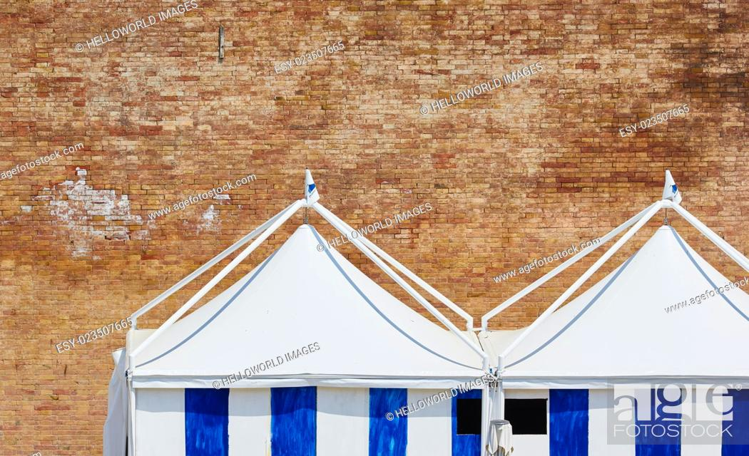 Stock Photo: Striped tents and brick wall, Rome, Lazio, Italy, Europe.