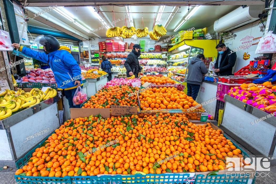 Stock Photo: Fresh produce for sale at a local grocery store in Shanghai, China.
