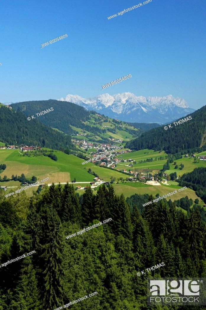 Stock Photo: View of the Alps, view of a village in a valley, Austria, Tyrol, Wildschoenau.