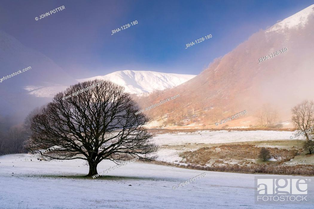 Stock Photo: Snow and mist at Glencoyne, Ullswater, Lake District National Park, UNESCO World Heritage Site, Cumbria, England, United Kingdom, Europe.