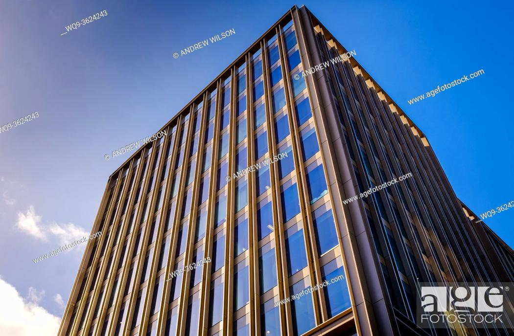Stock Photo: High modern office buildings in West Nile Street, Glasgow, Scotland.