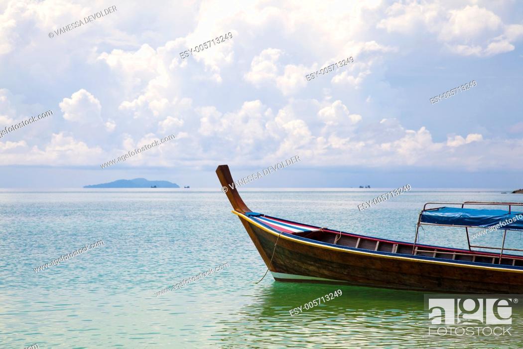 Stock Photo: Longtail boat at Ko Ngai, Thailand. Andaman sea.