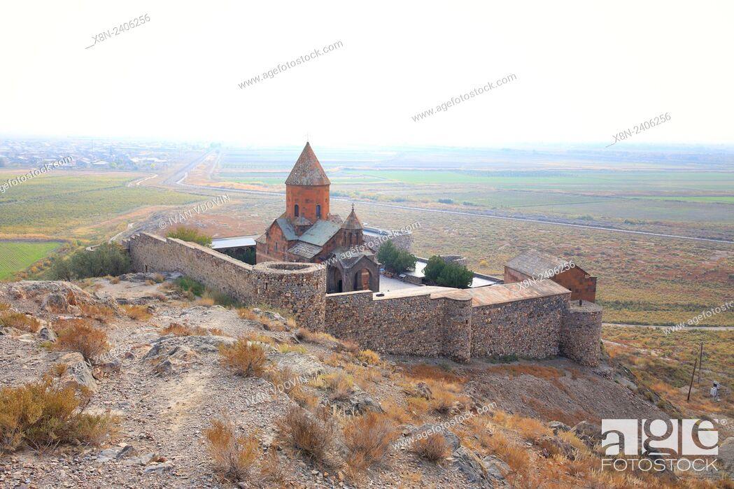 Stock Photo: Ararat valley, Church of the Holy Mother of God (St. Astvatzatzin), Khor Virap, Ararat Province, Armenia.