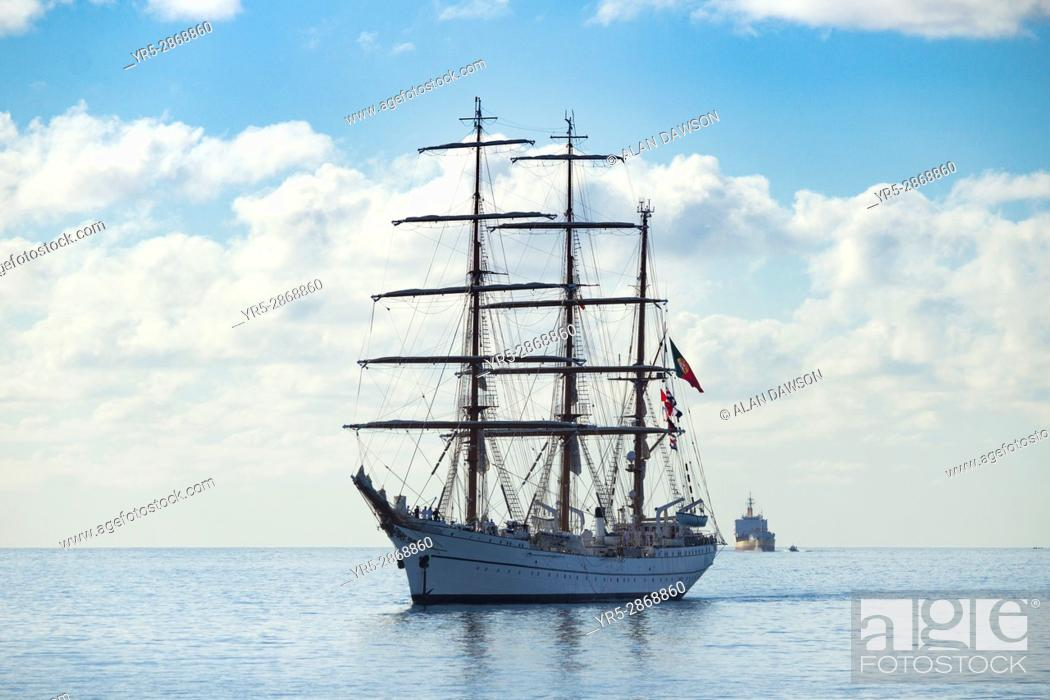 Stock Photo: Tall ship, NRP Sagres in Las Palmas port on Gran Canaria during the Rendez-Vous 2017 Tall Ships Regatta. Tall ship NRP Sagres is a training ship of the.