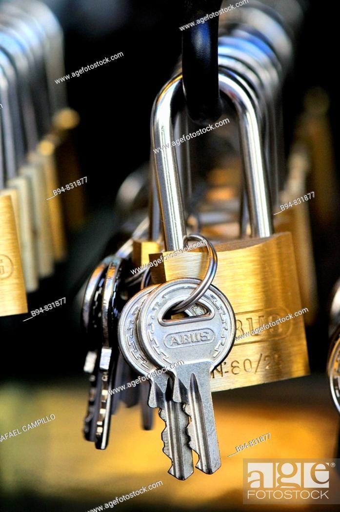 Stock Photo: Keys and locks.