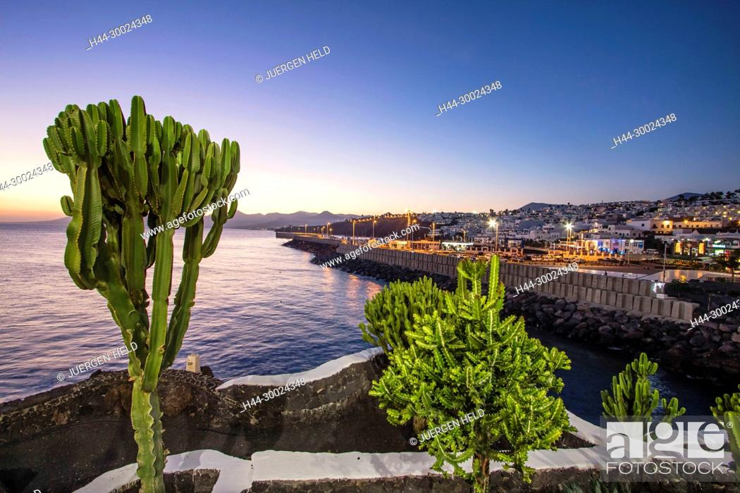 Stock Photo: Puerto del Carmen, Promenade at twilight, Lanzarote, Canary Islands, Spain.