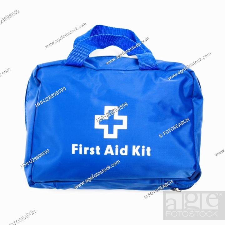 Stock Photo: Blue first aid kit on white background.