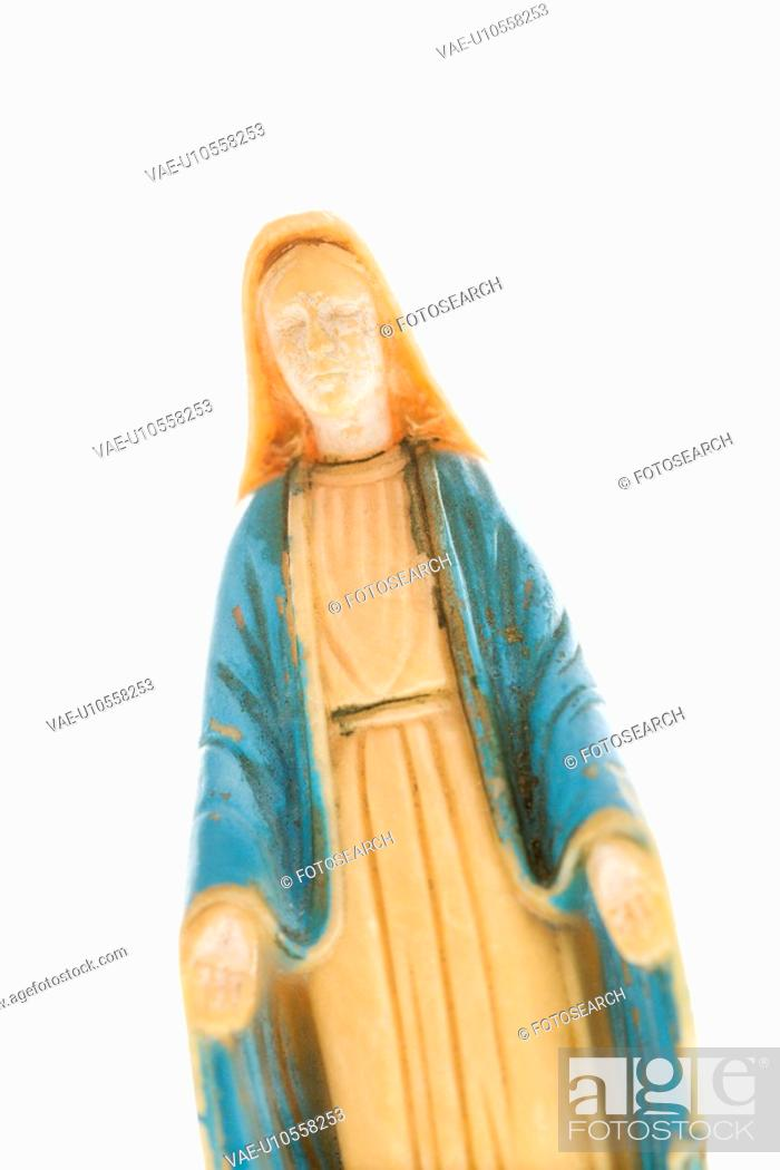 Stock Photo: Virgin Mary statue with hands held out against white background.