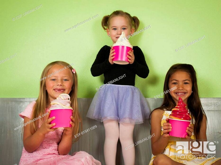 Stock Photo: Eating Frozen Yougurt.