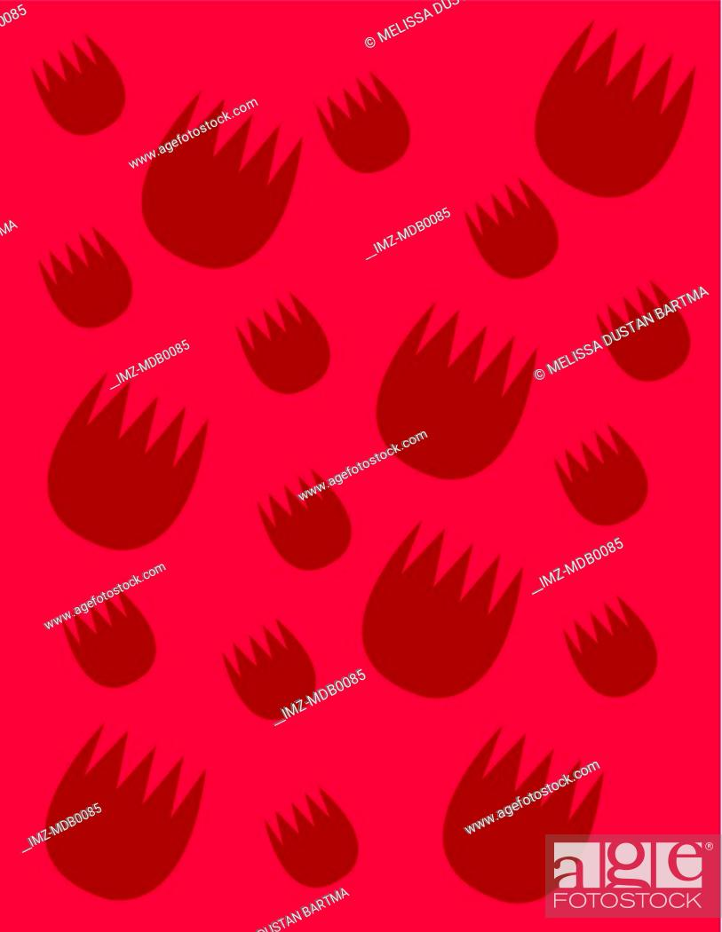 Stock Photo: Red tulip shapes on a dark pink background.