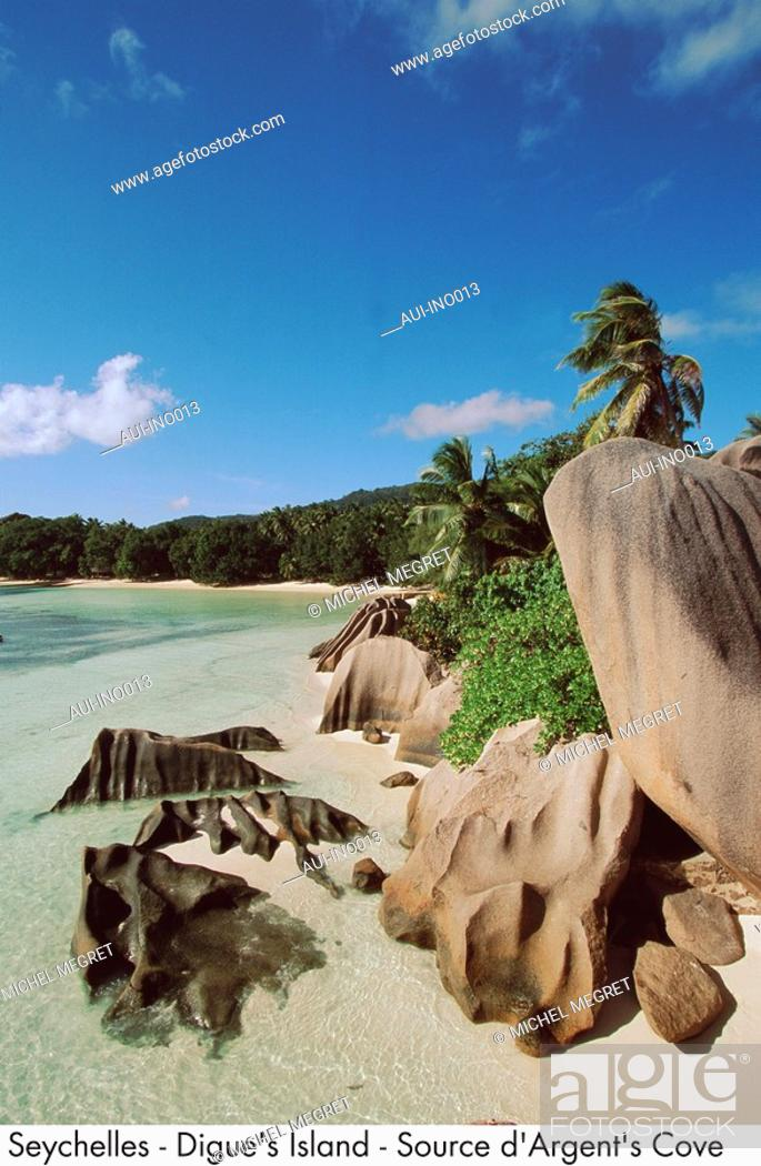 Stock Photo: Seychelles - Digue's Island - Source d'Argent's Cove.