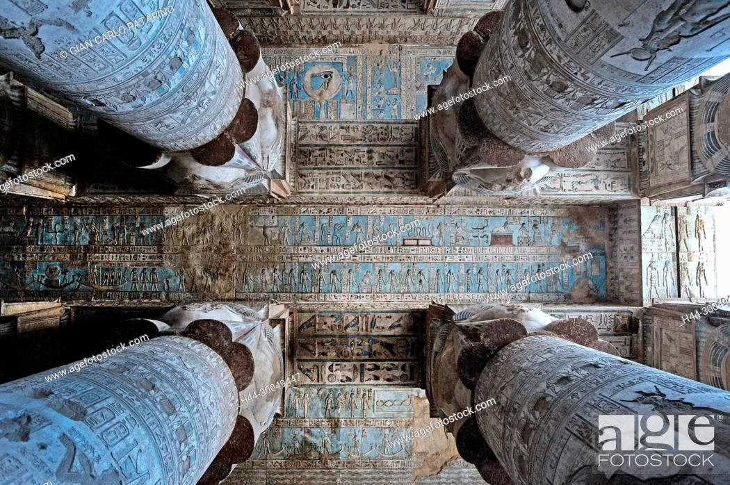 Stock Photo: Dendera Egypt, ptolemaic temple dedicated to the goddess Hathor. Carvings on the ceiling of the hypostyle hall.
