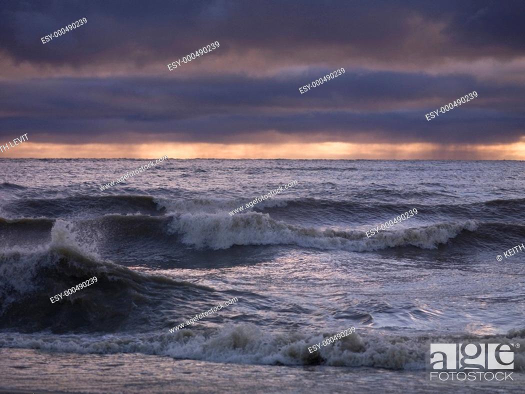 Stock Photo: Stormy waves on Lake Winnipeg, Gimli, Manitoba, Canada.