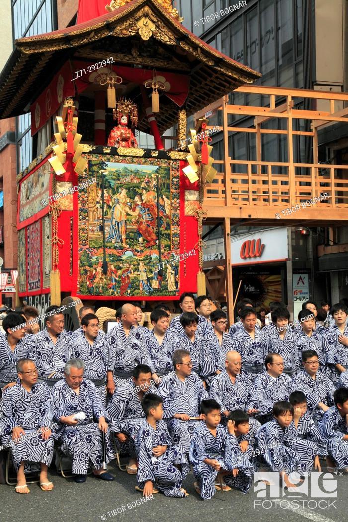 Stock Photo: Japan, Kyoto, Gion Matsuri, festival, float, people,.