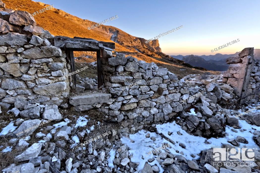 Stock Photo: Ruins of the Great War Italian cantonment on the Panettone Basso, Pasubio, Trento province, Trentino Alto-Adige, Italy, Europe.