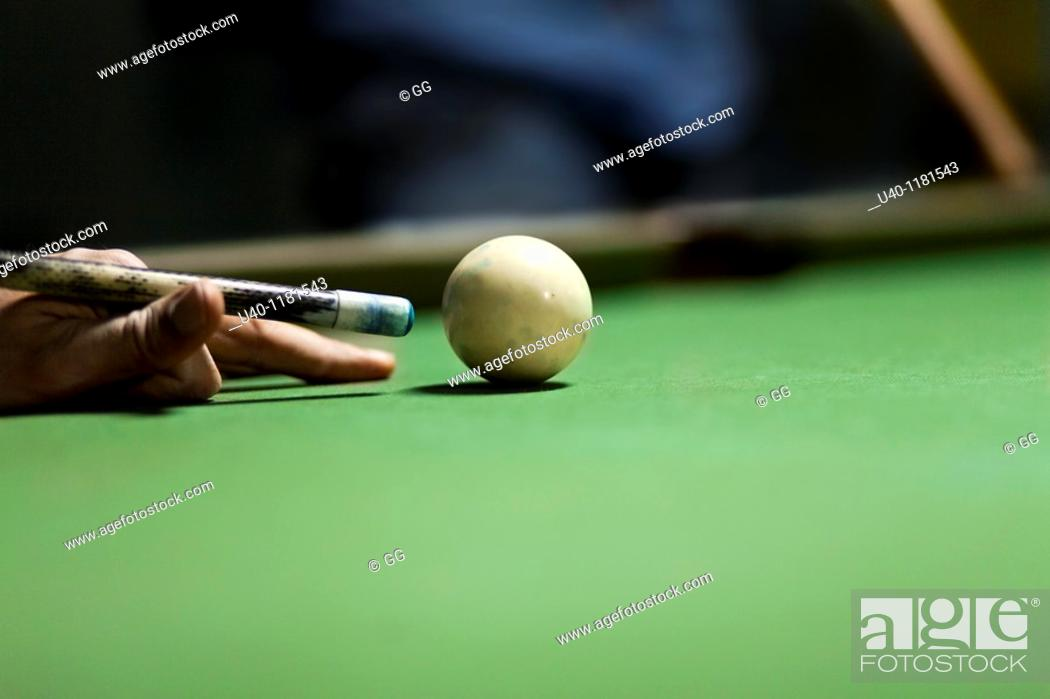 Stock Photo: Setting up cue ball.