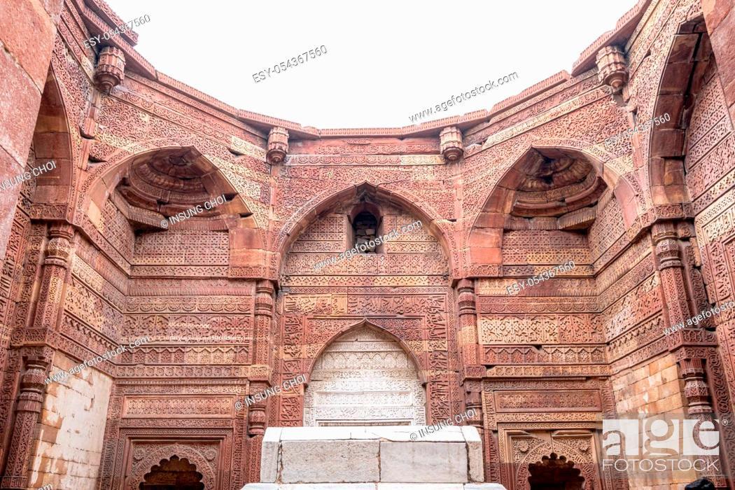 Stock Photo: tomb of iltutmish in qutub tomb complex in new delhi, india.