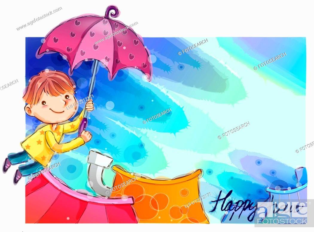 Stock Photo: imaginative, fairy tale, imagination, fancy, umbrella, nature.