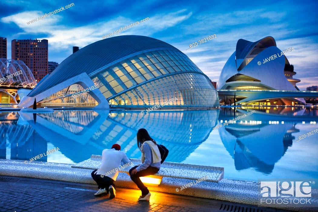 Photo de stock: L'Hemispheric, Palace of the Arts, City of Arts and Sciences, Valencia, Valencian Community, Spain.